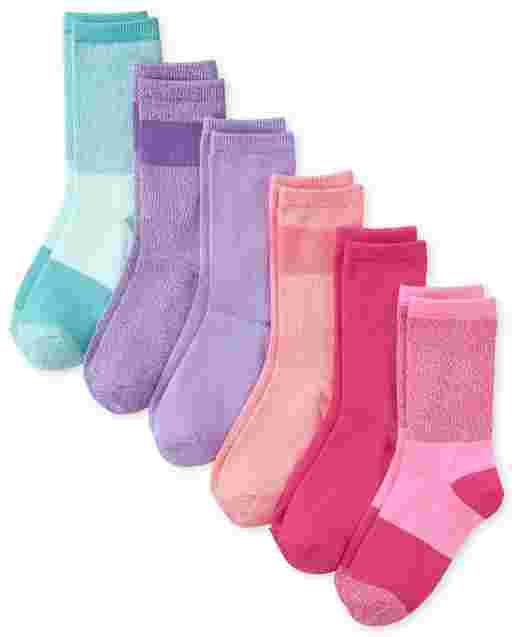 Girls Marled Super Soft Crew Socks 6-Pack