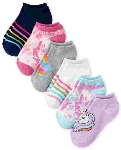 Girls Unicorn Rainbow Ankle Socks 6-Pack