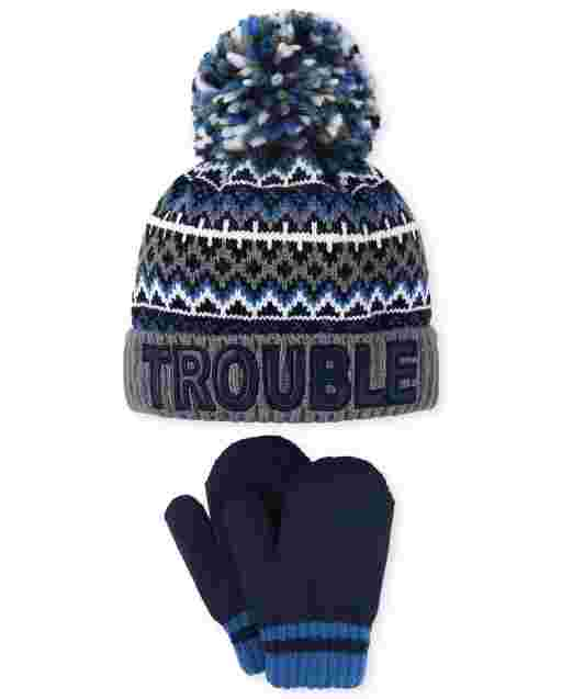 Toddler Boys Trouble Pom Pom Beanie And Mittens Set