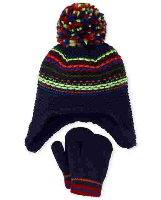 Toddler Boys Striped Hat And Mittens Set