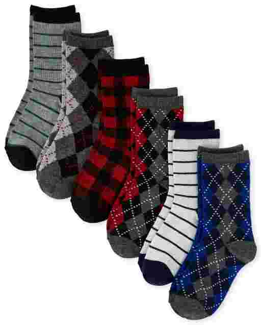 Boys Argyle Dressy Crew Socks 6-Pack