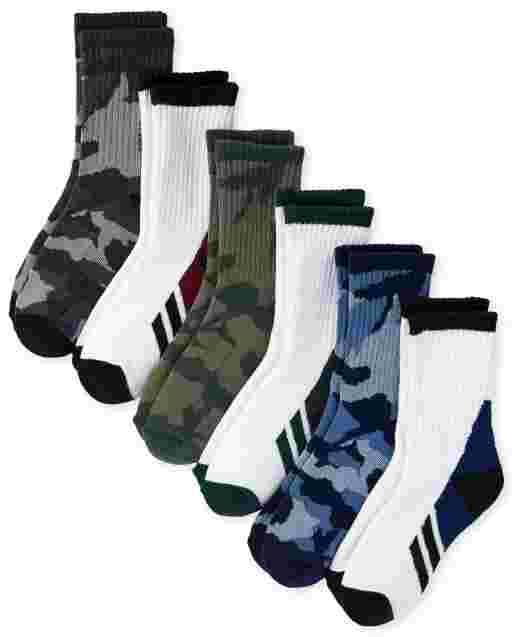 Boys Camo Crew Socks 6-Pack