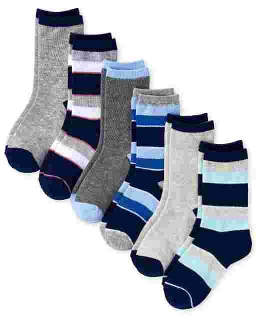 Boys Striped Crew Socks 6-Pack