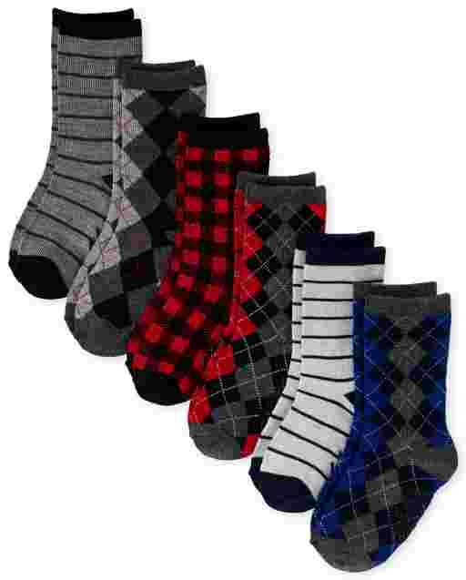Toddler Boys Argyle Dressy Crew Socks 6-Pack