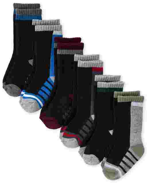 Toddler Boys Colorblock Cushioned Crew Socks 6-Pack