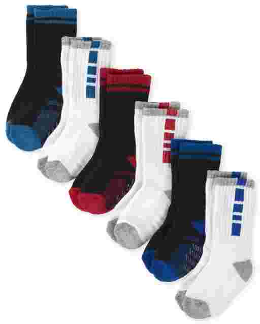 Toddler Boys Cushioned Crew Socks 6-Pack