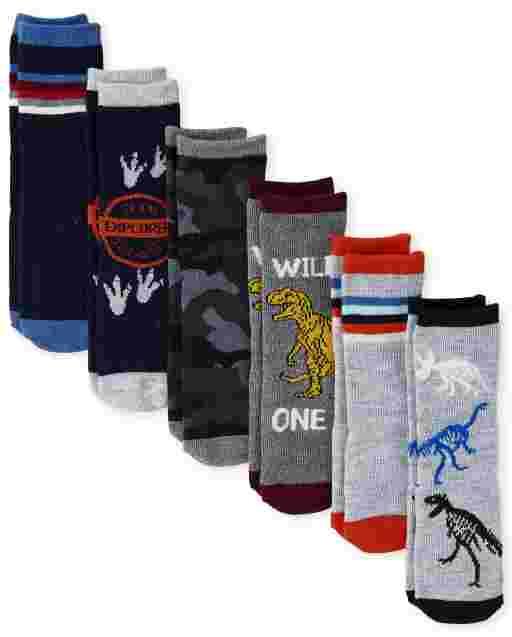Toddler Boys Dino Crew Socks 6-Pack