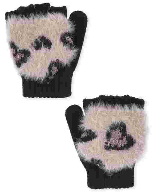 Girls Leopard Print Gloves