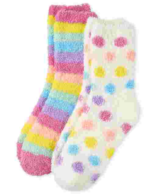 Girls Rainbow Cozy Socks 2-Pack