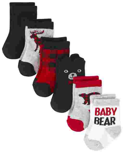 Baby Boys Buffalo Plaid Midi Socks 6-Pack