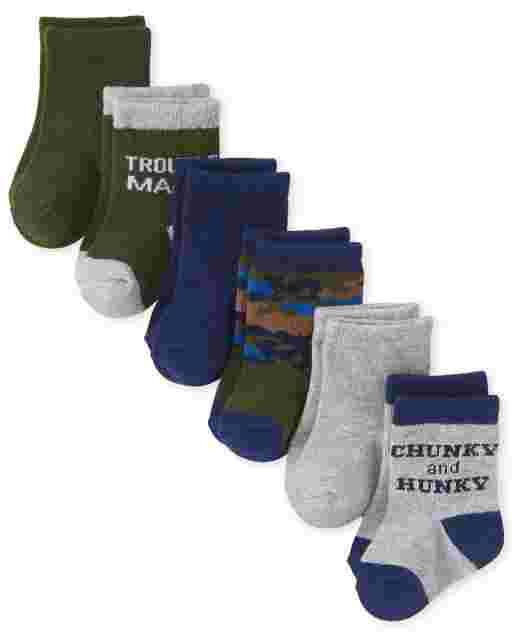 Baby Boys Trouble Maker Midi Socks 6-Pack