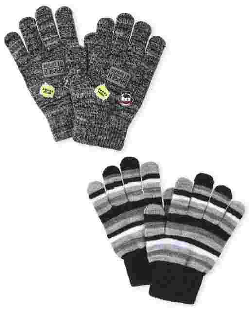 Boys Striped Emoji Texting Gloves 2-Pack