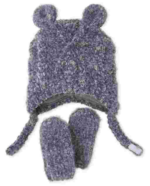Baby Boys Cable Knit Chenille Hat And Mittens Set