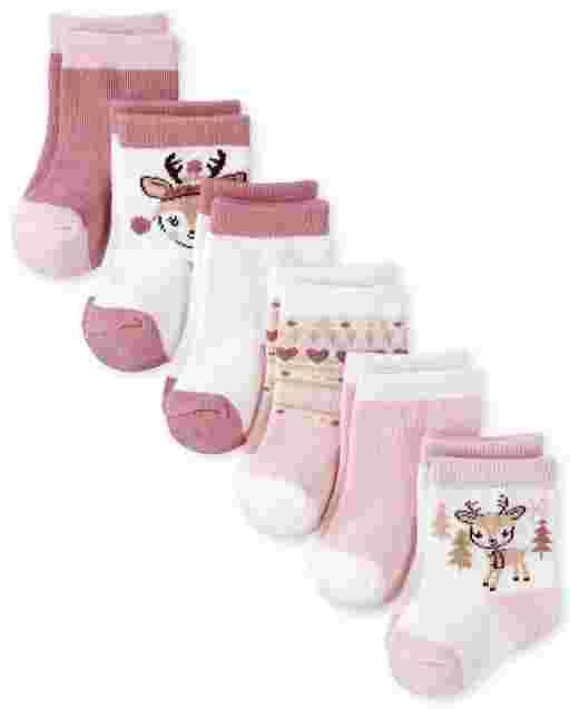 Baby Girls Reindeer Fairisle Midi Socks 6-Pack