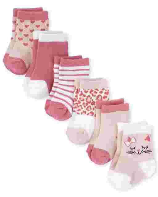 Baby Girls Leopard Heart Midi Socks 6-Pack
