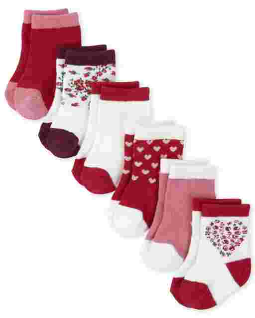 Baby Girls Valentine's Day Heart Midi Socks 6-Pack