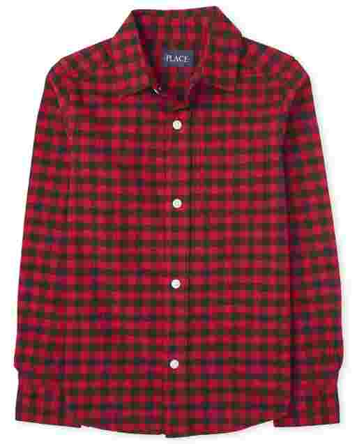 Boys Matching Family Long Sleeve Buffalo Plaid Oxford Button Down Shirt