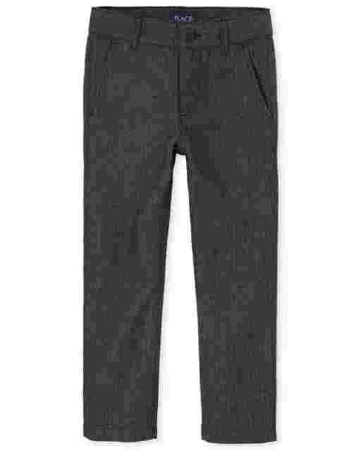 Boys Herringbone Woven Skinny Dress Pants