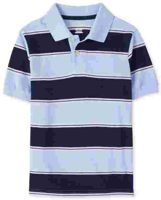 Boys Short Sleeve Striped Pique Polo