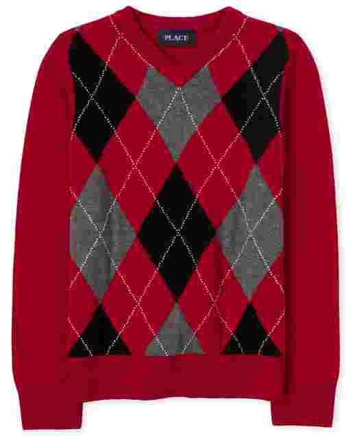 Boys Long Sleeve Argyle V Neck Sweater
