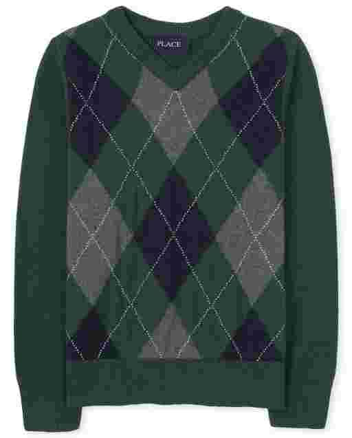 Suéter con cuello en V de argyle para niños