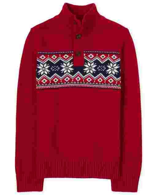 Boys Long Sleeve Fairisle Mock Neck Sweater
