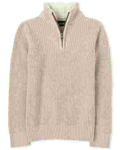 Suéter de sherpa con media cremallera y cuello simulado para niño