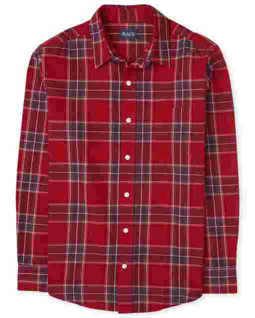 Mens Matching Family Long Sleeve Plaid Poplin Button Down Shirt