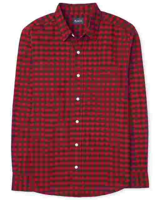 Mens Matching Family Long Sleeve Buffalo Plaid Oxford Button Down Shirt