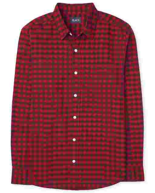 Mens Matching Family Long Sleeve Buffalo Plaid Oxford Button Down Shirt