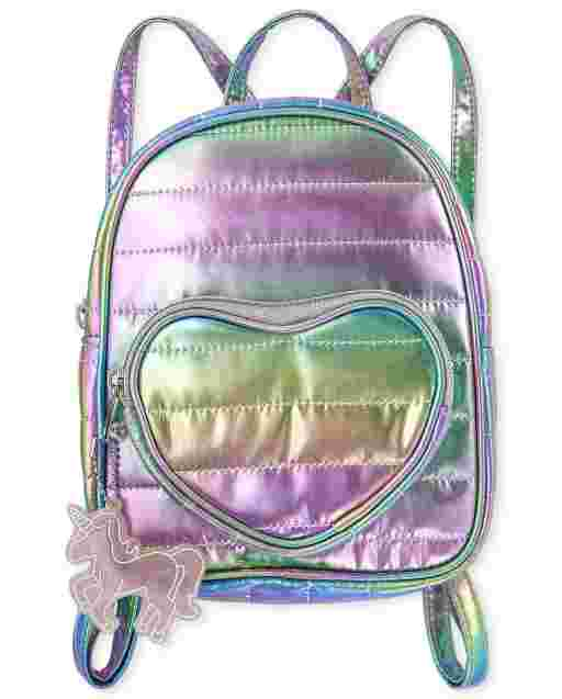 Girls Metallic Quilted Heart Mini Backpack