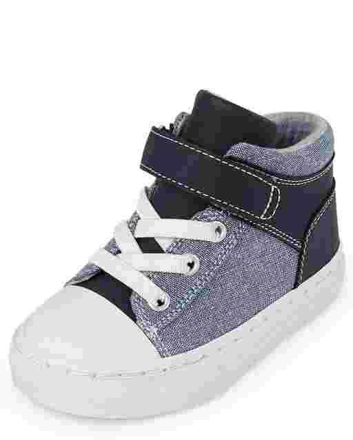 Toddler Boys Denim Chambray Mid Top Sneakers