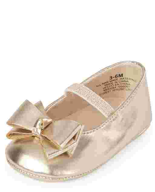 Baby Girls Metallic Faux Leather Bow Ballet Flats