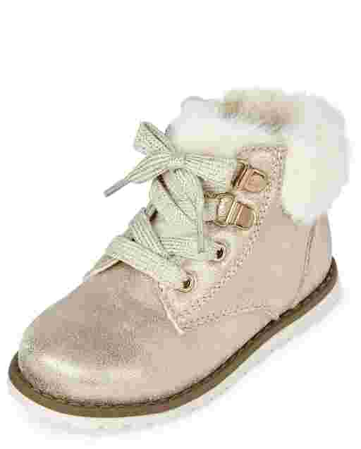 Toddler Girls Metallic Lace Up Booties