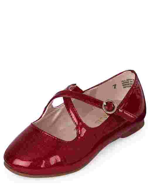 Toddler Girls Glitter Faux Leather Cross Strap Ballet Flats