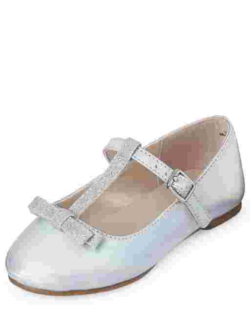 Zapatillas de ballet con correa en T de piel sintética con purpurina metálica para niñas pequeñas