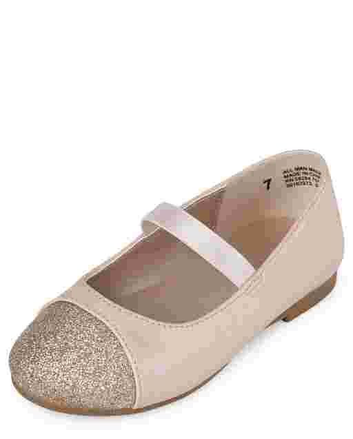 Toddler Girls Glitter Toe Faux Leather Ballet Flats