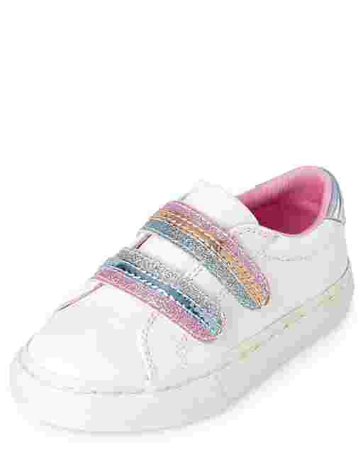 Toddler Girls Glitter Striped Faux Leather Low Top Sneakers