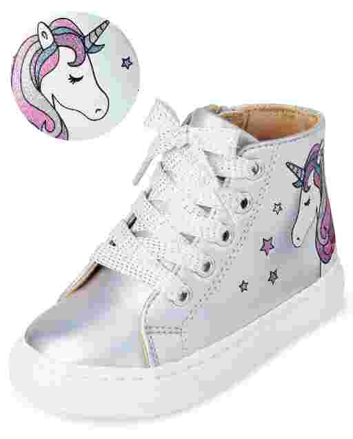 Toddler Girls Iridescent Unicorn Faux Leather Hi Top Sneakers