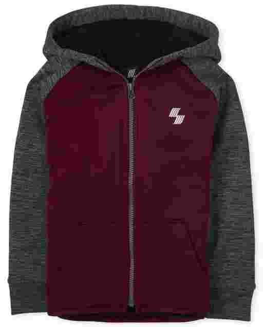 Boys Active Long Sleeve Sherpa Performance Zip Up Hoodie