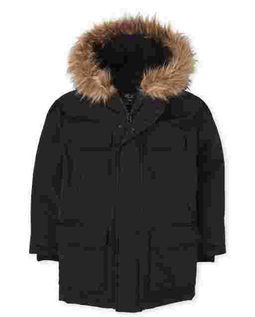 Boys Long Sleeve Sherpa Lined Hooded Parka Jacket