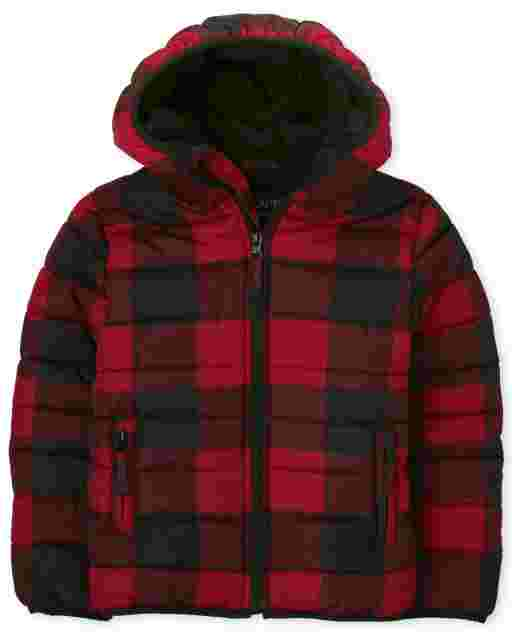 Boys Long Sleeve Buffalo Plaid Hooded Puffer Jacket