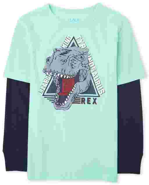 Boys Long Sleeve Graphic Thermal 2 In 1 Top