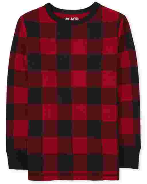Boys Long Sleeve Buffalo Plaid Thermal Top