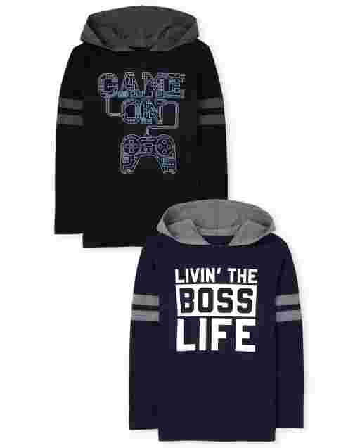 Boys Long Striped Sleeve 'Game On' And 'Livin' The Boss Life' Hoodie Top 2-Pack