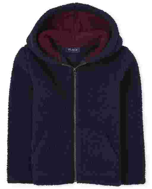 Boys Long Sleeve Sherpa Cozy Zip Up Hoodie