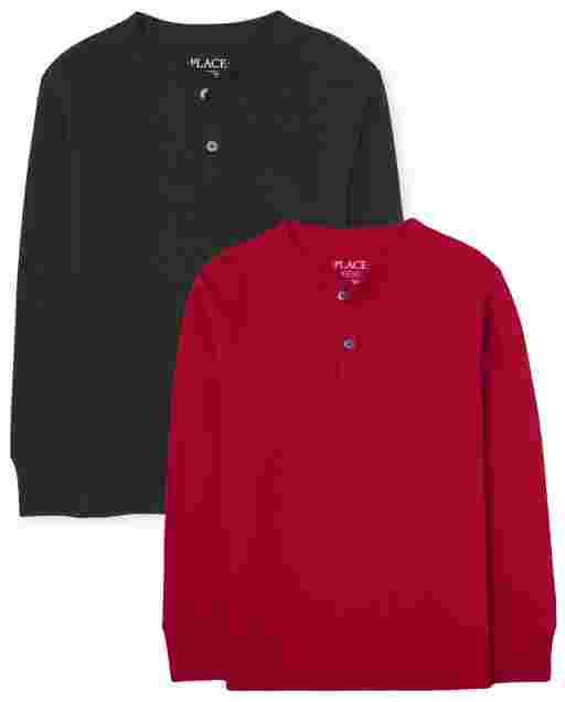 Boys Long Sleeve Thermal Henley Top 2-Pack