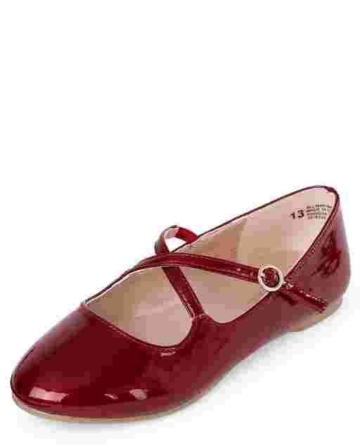 Girls Glitter Faux Leather Cross Strap Ballet Flats