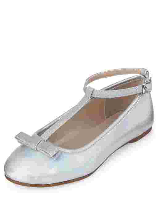 Bailarinas Niña Piel Sintética Con Purpurina Metalizada
