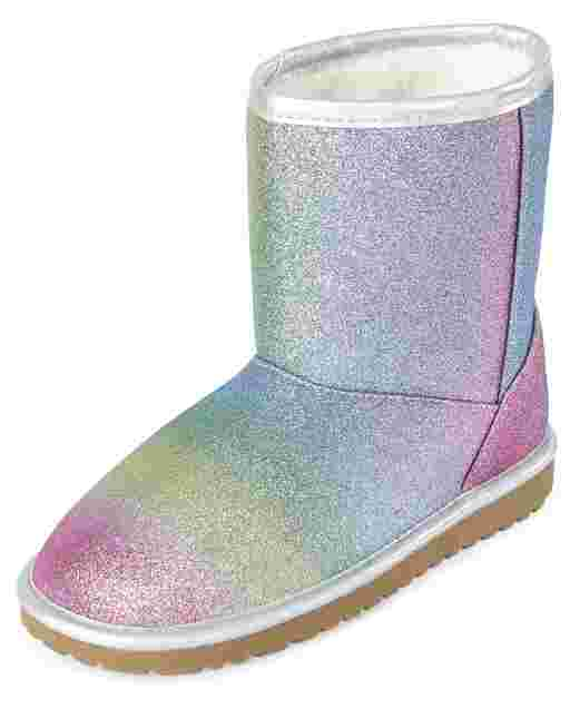 Girls Glitter Rainbow Boots